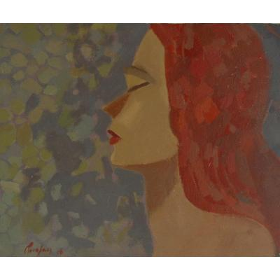 """Joan Carles Roca Sans (Barcelona 1946),  """"Jeune femme aux cheveux rouges"""" 1976 (H38 / L 46 cm)"""