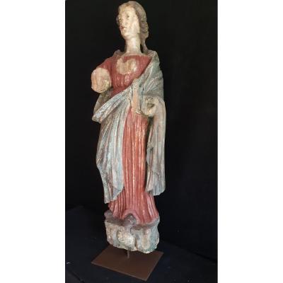 France, fin XVIIème, Grande Sculpture En Bois Représentant Sainte Agnès  ( H 97 Cm)