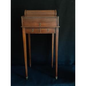 Petit Bureau écritoire en acajou Style Louis XVI,  XIXème à Rideau Articulé (H 85 Cm)