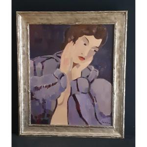 """Joan Carles Roca Sans  (Barcelona 1946), """" Jeune femme au peignoir, 1977 """" ( H 55 / L 46 cm )"""