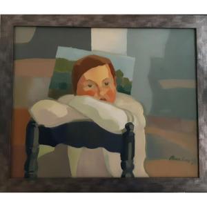 """Joan Carles Roca Sans  (Barcelona 1946), """" Portrait d'enfant, 1975 """" ( H 50 / L61 cm )"""