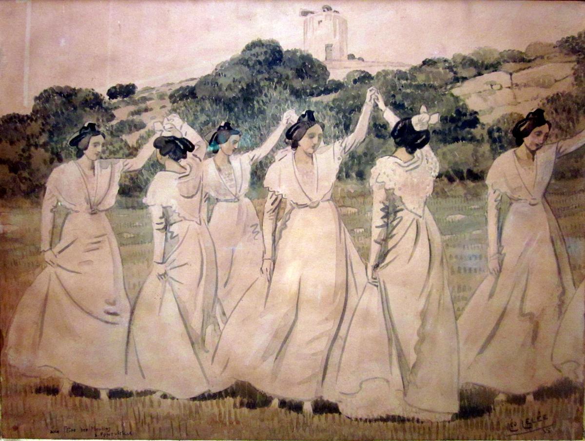 Léopold Lelée dit Léo Lelée (1872-1947) A la fête des Moulins à Fontvieille