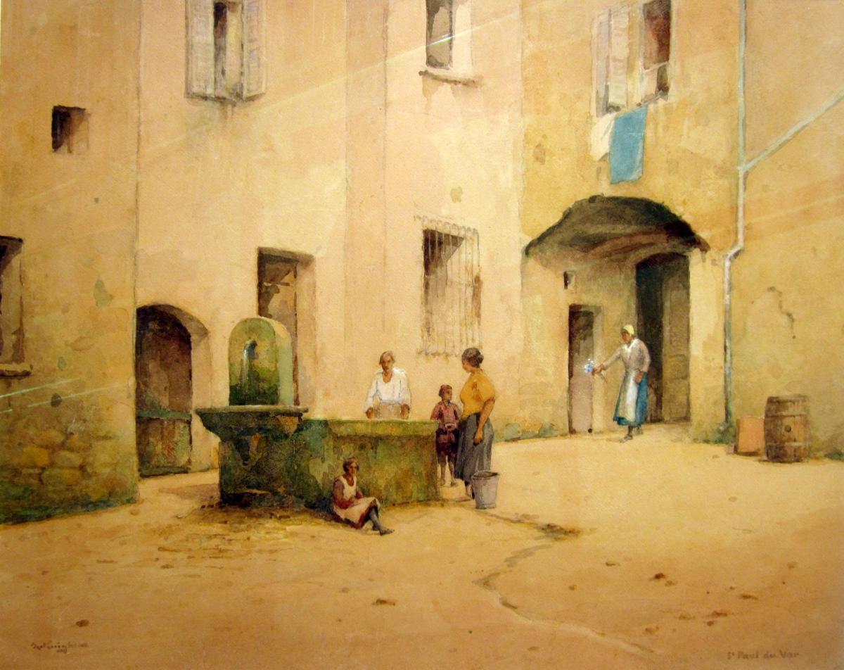 Adam Knight (1855-1931) Characters At La Fontaine In Saint Paul Du Var