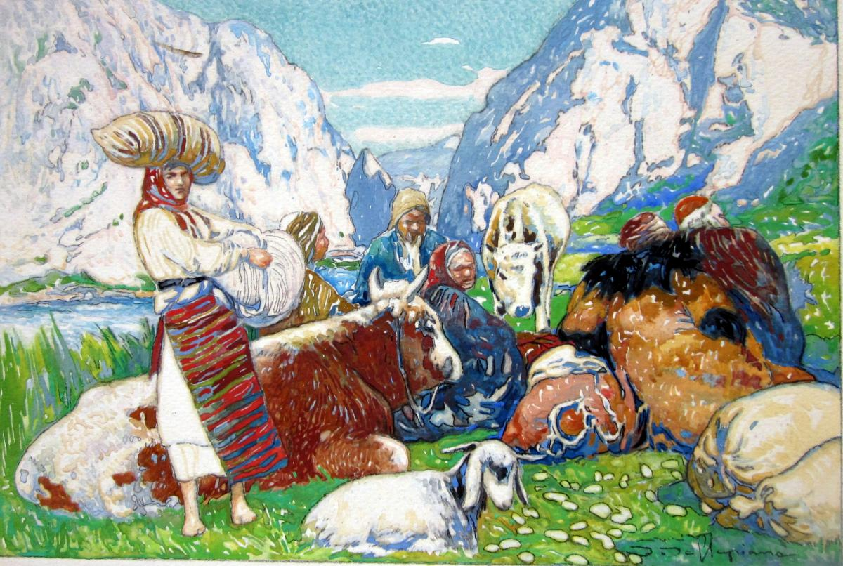 David Dellepiane (1866-1932) Paysans d'Asie Centrale Et Leur Troupeau