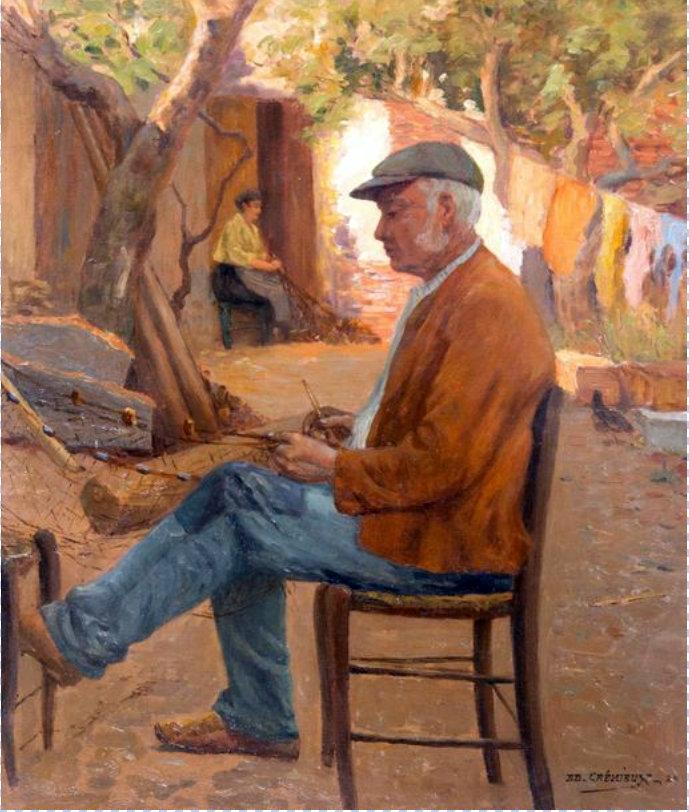 Edouard Crémieux (1856-1944) Le Ravaudeur De Filets