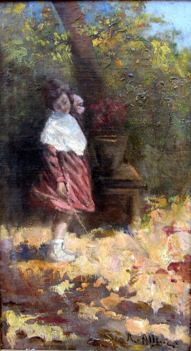 Raymond Allègre (1857-1933) Jeune Fille Dans Le Jardin