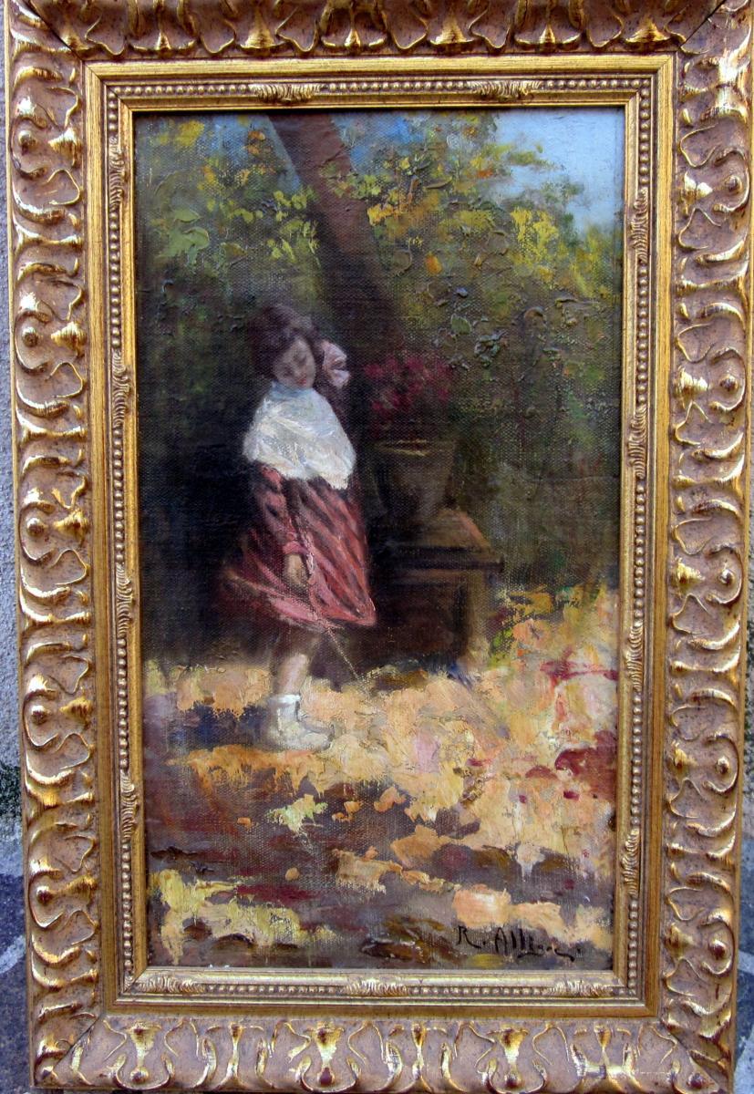 Raymond Allègre (1857-1933) Jeune Fille Dans Le Jardin-photo-2