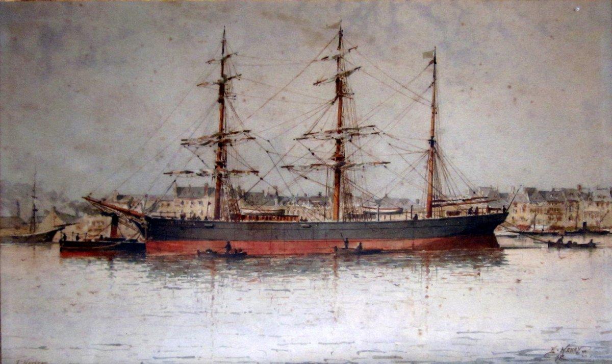 Emile Henry (1842-1920) Portrait Of La Goelette l'Horizon