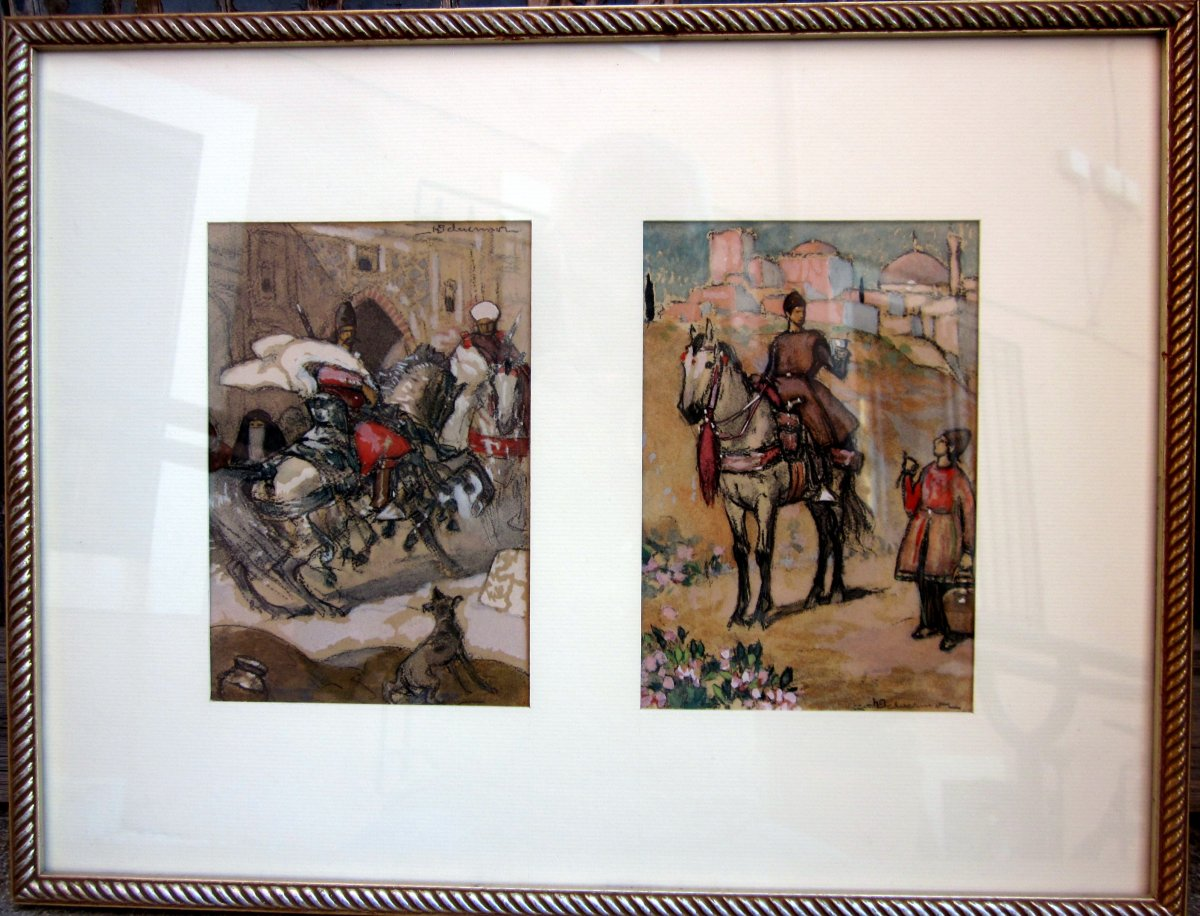 Henri Deluermoz (1876-1943) Pair Of Gouaches - Oriental Riders