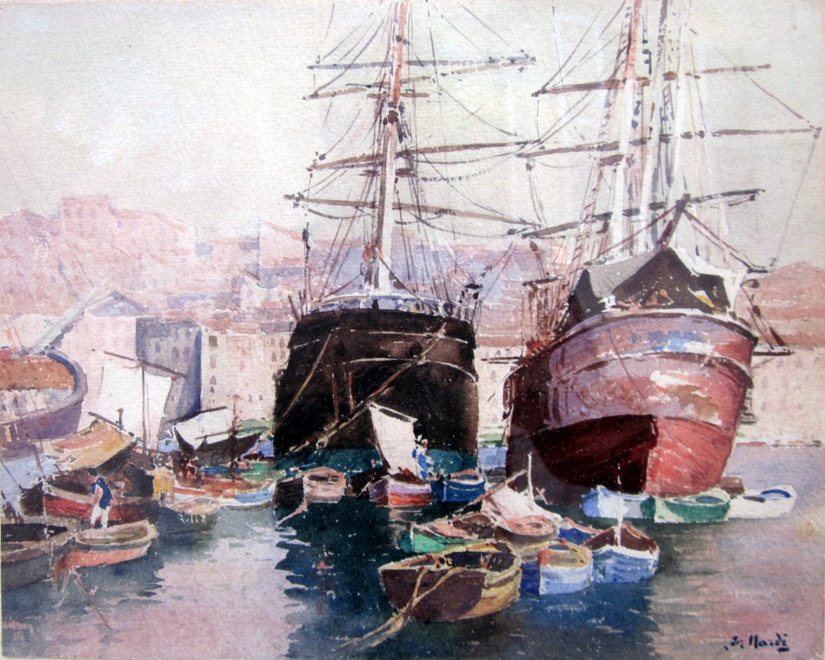 François Nardi (1861-1936) Ships In The Old Port Of Marseille - Watercolor