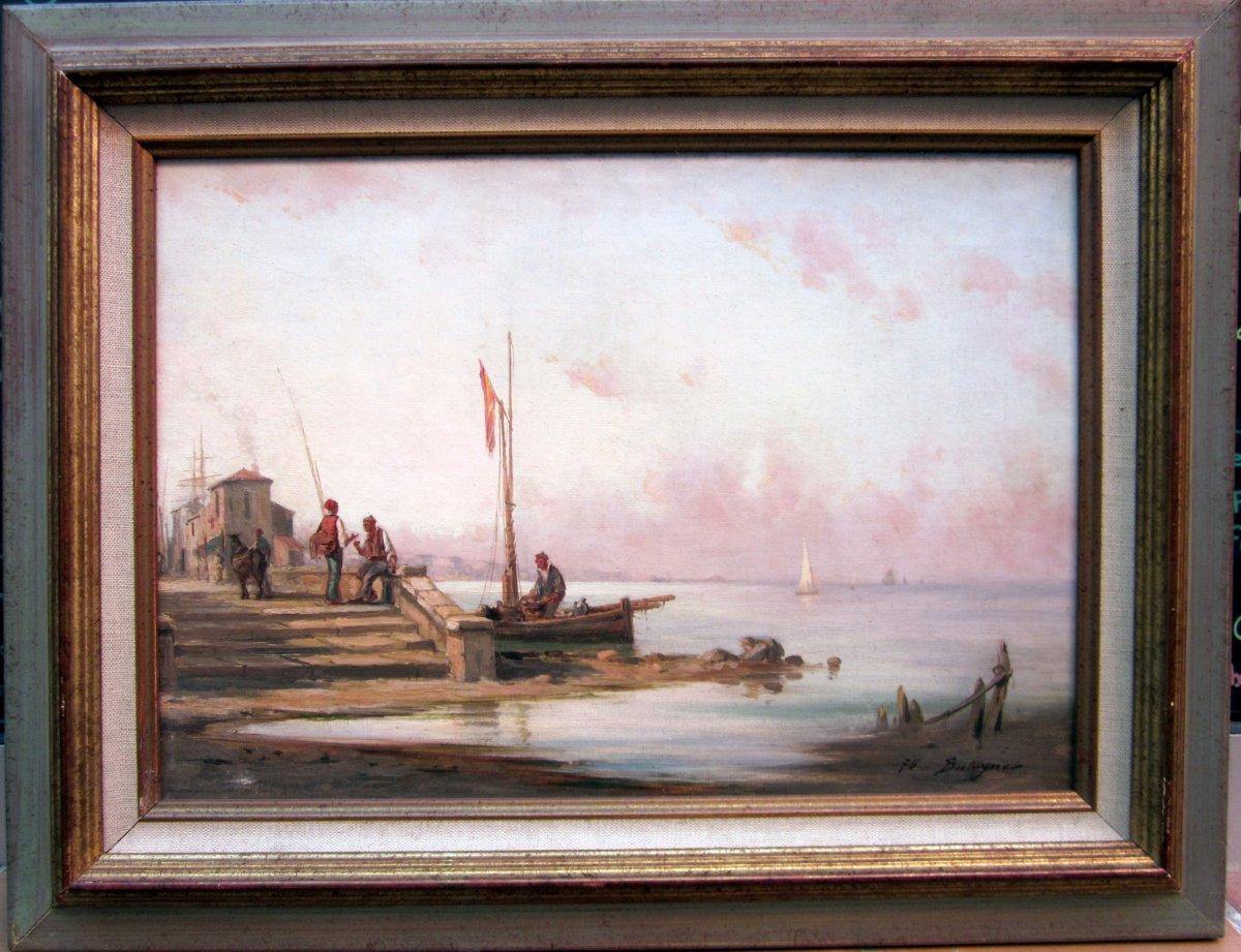 Paul Bistagne (1850-1886) Pêcheurs Au Bord De Mer