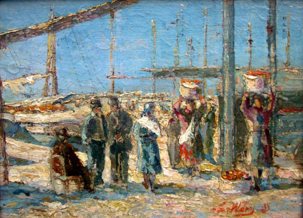 Emile Wery (1868-1935) The Unloading Of Oranges In Marseille
