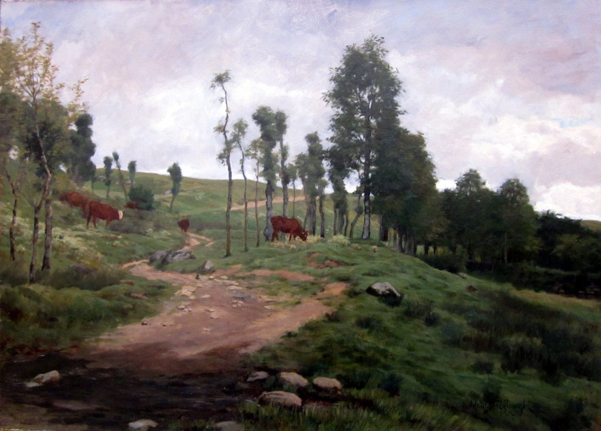 Walter Biddlecombe (1855-1903) Landscape With Cows