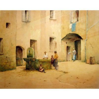 Adam Knight (1855-1931) Personnages à La Fontaine à Saint Paul Du Var
