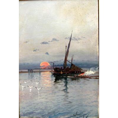 Henri Malfroy Savigny (1895-1944) Barque Au Couchant