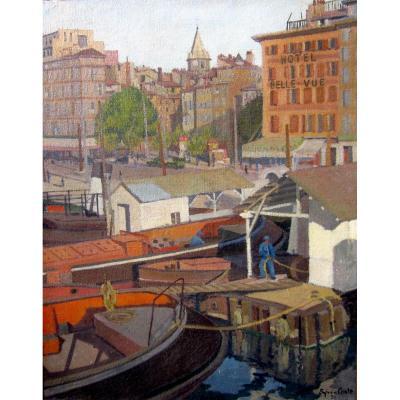 Sylvain Coste (début XXe) Marseille, La Place Victor Gélu Et l'Hotel Belle Vue En 1934