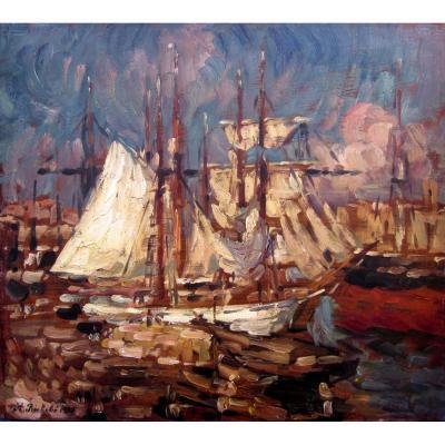 Horace Richebé (1871-1964) Vieux Port De Marseille En 1915