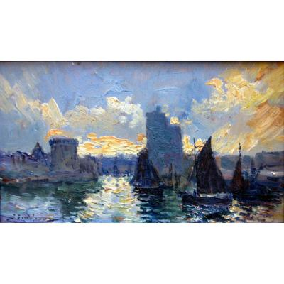 Pierre Faget Germain (1890-1961) Entrance To The Port Of La Rochelle