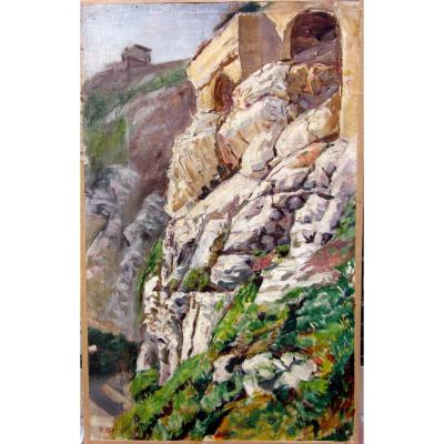 Pierre Grivolas (1823-1906) Hameau Accroché Aux Rochers