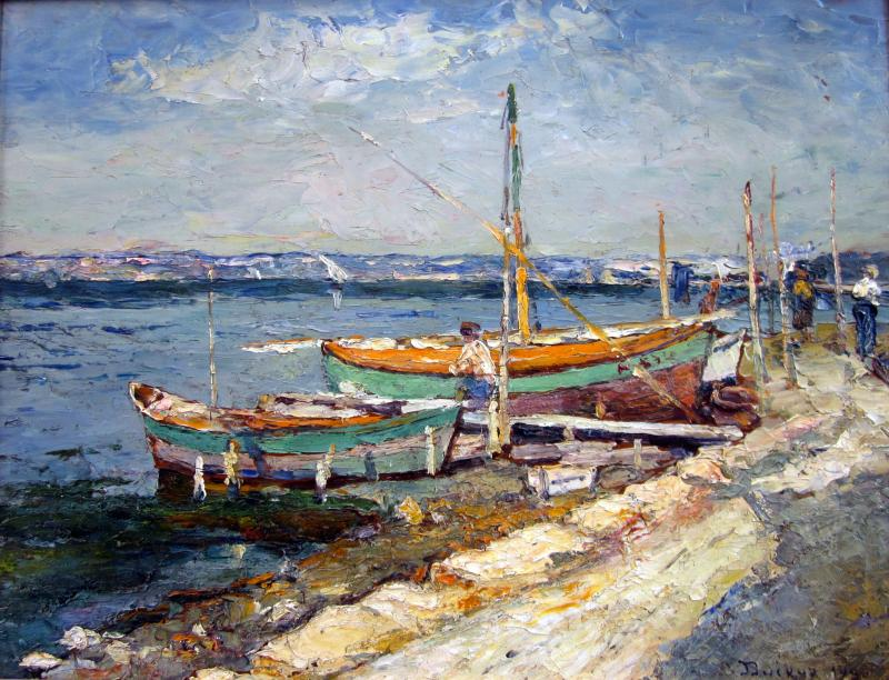 Edouard Ducros (1856-1936) Boats And Fishermen In The Surroundings Of Martigues-photo-2