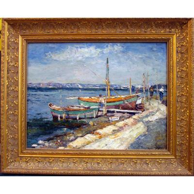 Edouard Ducros (1856-1936) Boats And Fishermen In The Surroundings Of Martigues