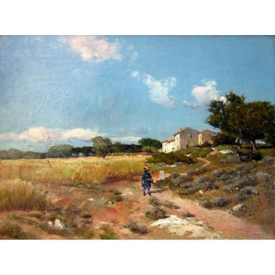 Théophile Décanis (1847-1917) Mas Dans Un  Paysage Provençal Animé d'Une Enfant Et d'Un Ane