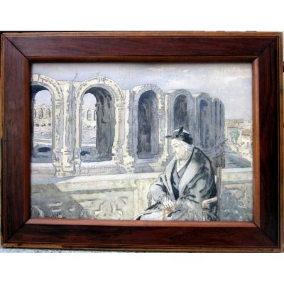 Léopold Lelée Dit Léo Lelée (1872-1947) Vieille Arlésienne Devant Les Arènes d'Arles