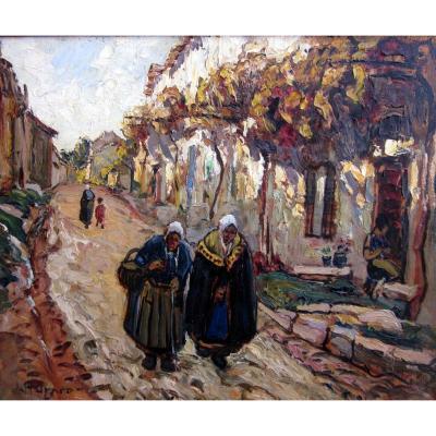 Joseph Hurard (1887-1956) Comtadines Dans Une Rue De Villeneuve Les Avignon
