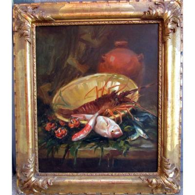 Simon (xixe) Still Life With Fish, Sea Urchins And Lobster