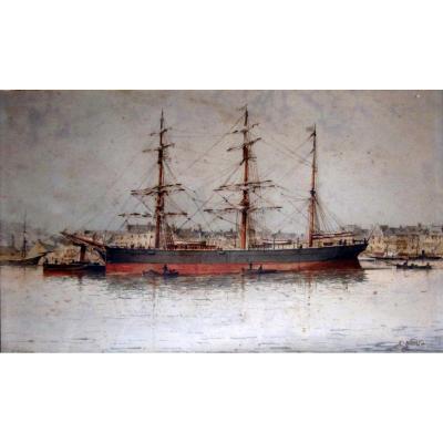 Emile Henry (1842-1920) Portrait De La Goelette l'Horizon