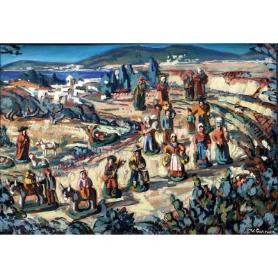 Vénance Curnier (1885-1971) Paysage Aux Santons