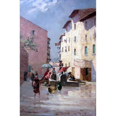 H. De Giuja (xixe-xxe)  Les Lavandières Sur La Place Du Village En 1895