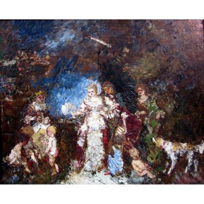 Adolphe Monticelli (1824-1886) Rendez-vous Sur La Terrasse