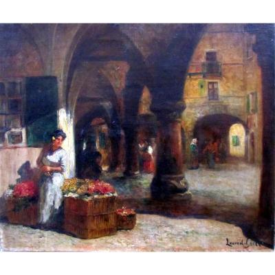 Laurent Gsell (1860-1944) La Marchande De Fleurs Sous Les Arcades