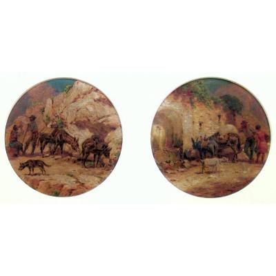 Jules Coulange Lautrec (1861-1950)  Paire de scènes rurales - Muletiers