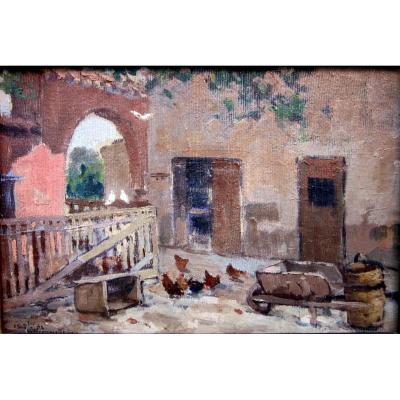 Sauveur Bernay Théric (1874-1963) Cour De Ferme Avec Poules Et Pigeons