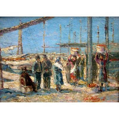Emile Wery (1868-1935) Le Déchargement Des Oranges à Marseille
