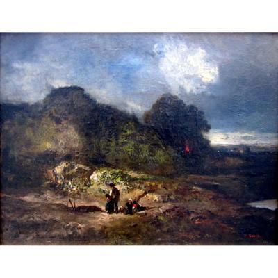Paul Camoin (1816-1889) Halte De Paysans Au Crépuscule