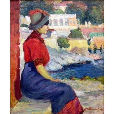 Georges Pomerat (1870-1948) Elégante Assise Sur La Corniche à Marseille