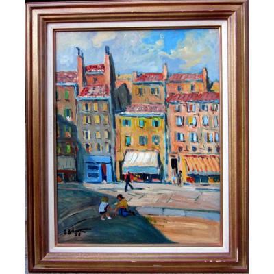 Jean Guindon (1883-1975) Enfants Jouant Aux Boules Dans Les Vieux Quartiers De Marseille
