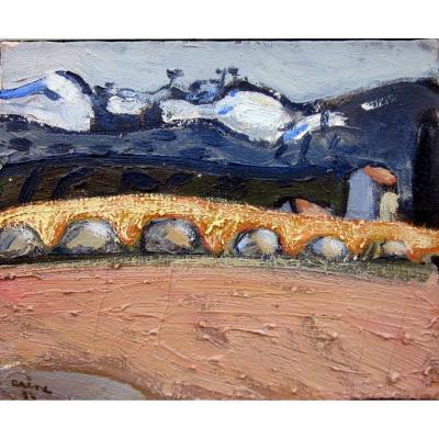 Jean Arène (1929-2020) Paysage Des Alpilles à l'Aqueduc