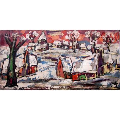 Henri d'Anty (1910-1998) Village Sous La Neige