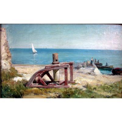 Raphaël Ponson (1835-1904) Cabestan Au Bord De Mer