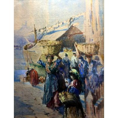 Gilbert Galland (1870-1950) Femmes Sur Le Quai à Marseille - Aquarelle