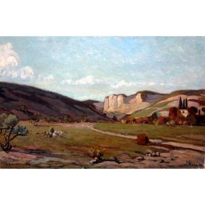 Joseph Hurard (1887-1956) Berger Et Son Troupeau Dans La Vallée Des Baux De Provence