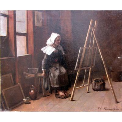 Charles Perrandeau (1865-1903) Jeune Bretonne Dans l'Atelier d'Un Artiste