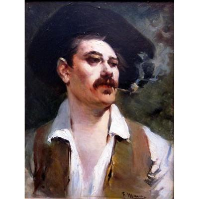 François Maury (1861-1933) Portrait Of A Man In A Hat Smoking A Pipe