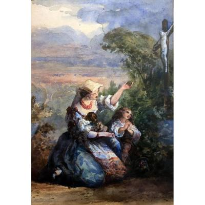 Auguste Aristide Constantin (1824-1895) Woman And Her Children Praying - Watercolor
