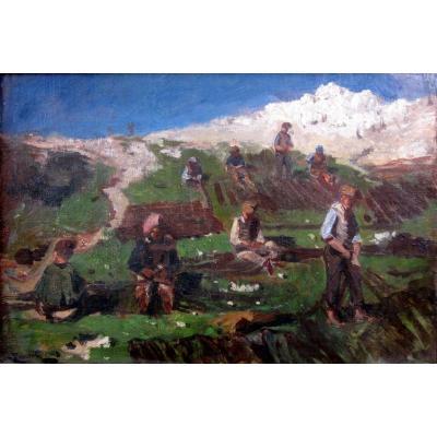 Luc Raphaël Ponson (1835-1904) Fishermen Mending Their Nets In Vallon Des Auffes