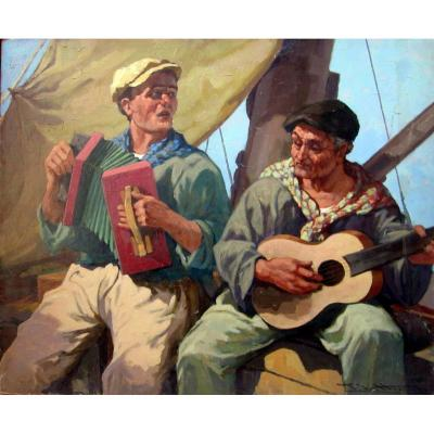 Giulio Vittini (1888-1968) The Musicians Sailors